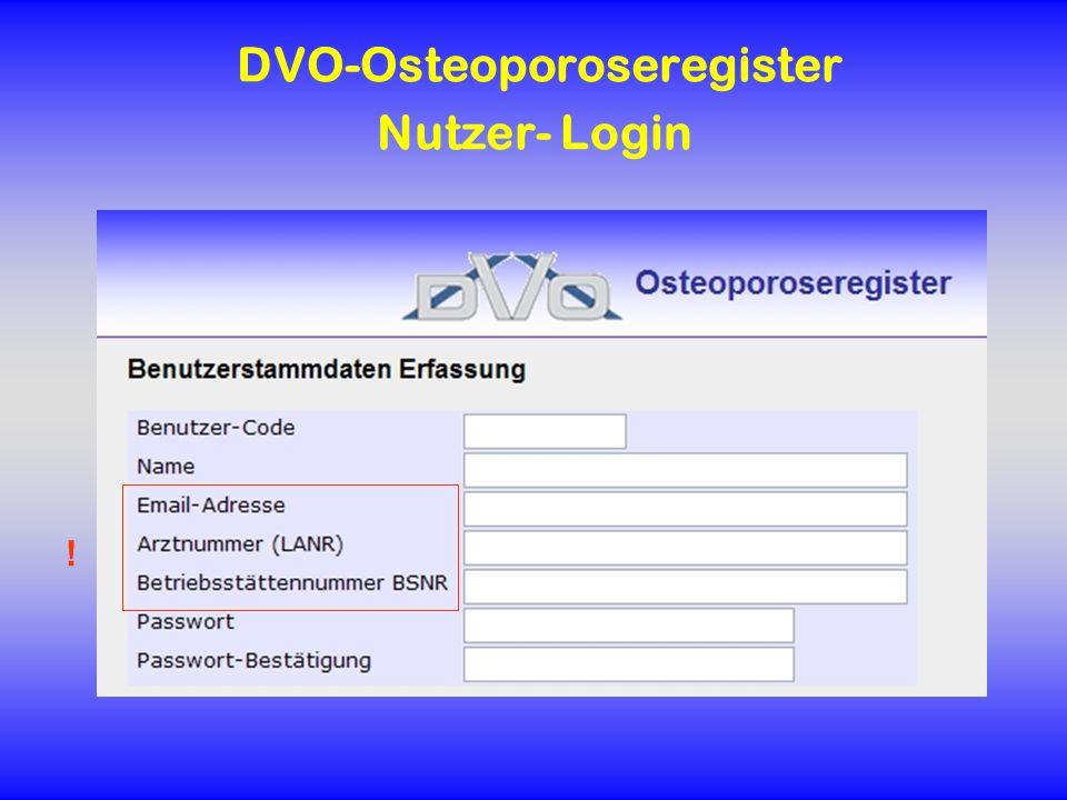 DVO-Osteoporoseregister Nutzer- Login