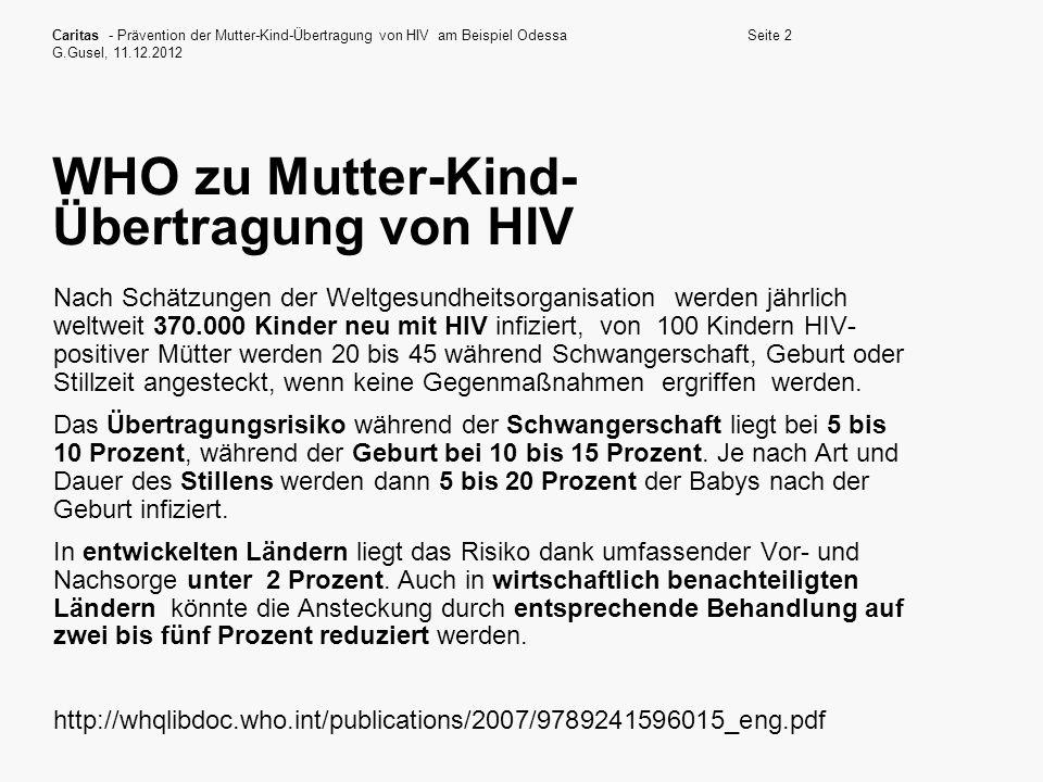 WHO zu Mutter-Kind-Übertragung von HIV