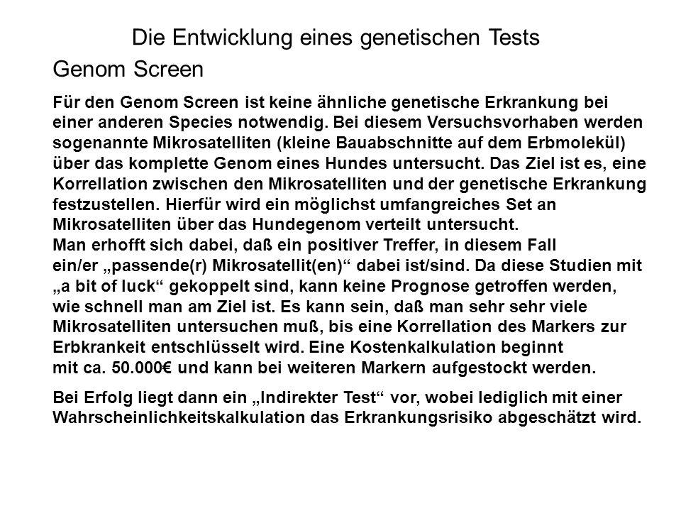 Die Entwicklung eines genetischen Tests Genom Screen