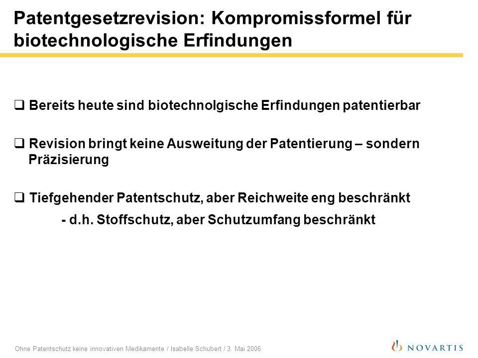 Patentgesetzrevision: Kompromissformel für biotechnologische Erfindungen