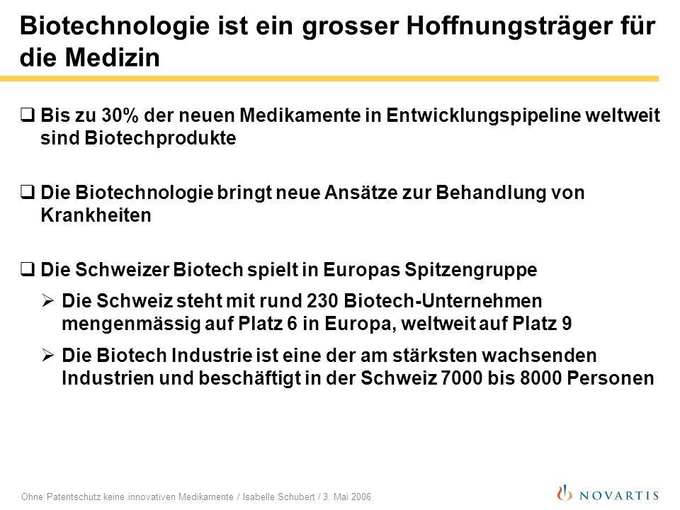 Biotechnologie ist ein grosser Hoffnungsträger für die Medizin