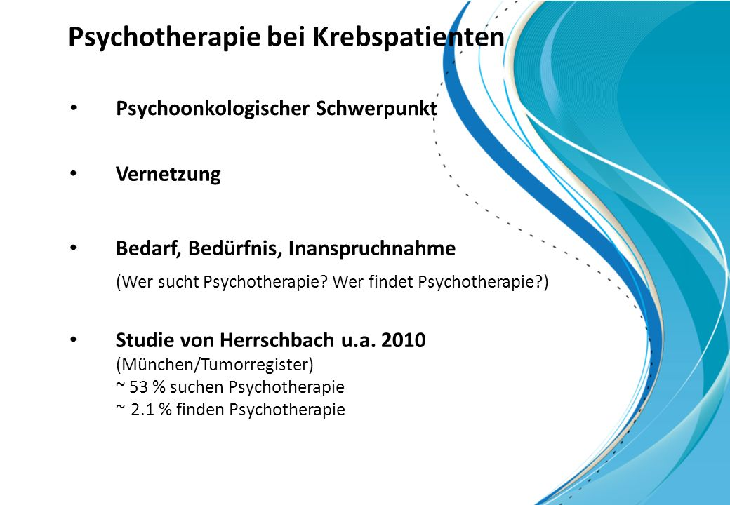 Psychotherapie bei Krebspatienten
