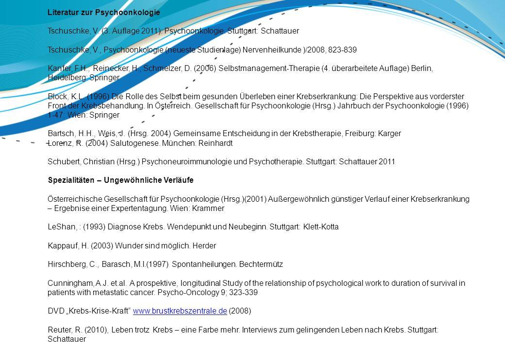 Literatur zur Psychoonkologie