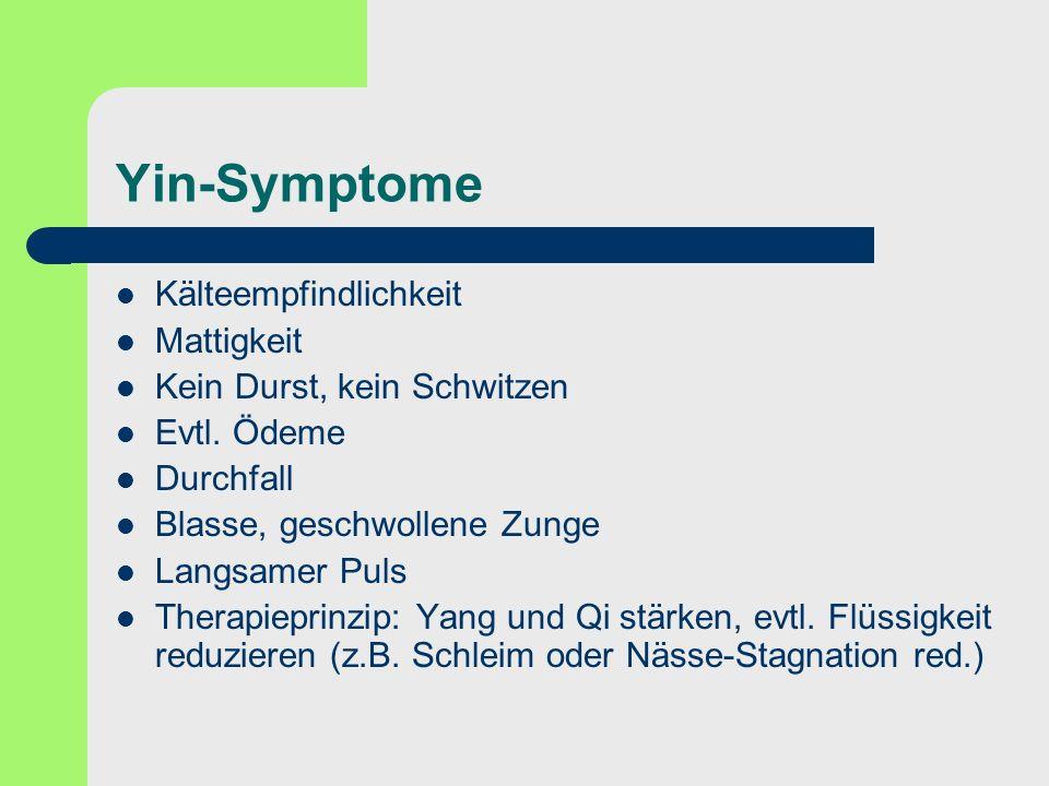Yin-Symptome Kälteempfindlichkeit Mattigkeit
