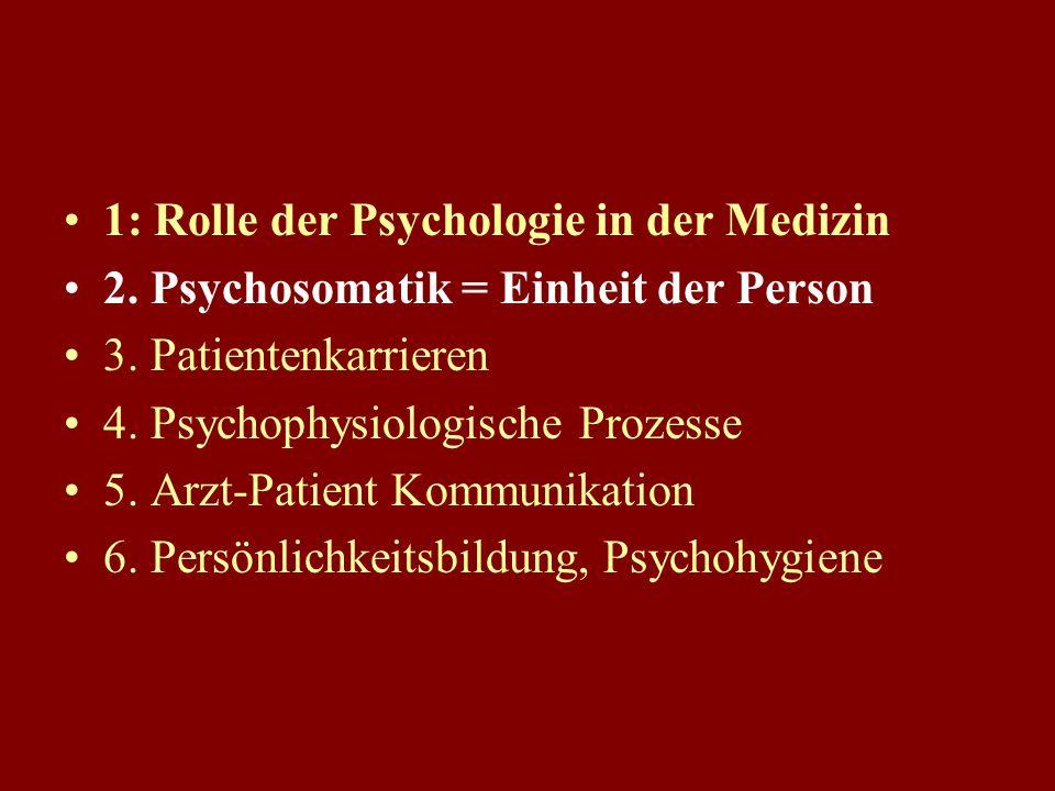 1: Rolle der Psychologie in der Medizin