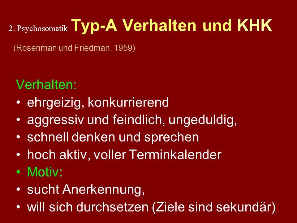 2. Psychosomatik Typ-A Verhalten und KHK (Rosenman und Friedman, 1959)