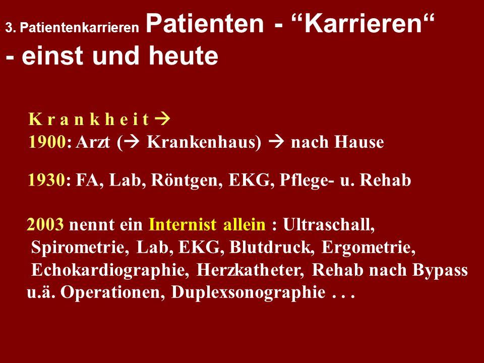 3. Patientenkarrieren Patienten - Karrieren - einst und heute