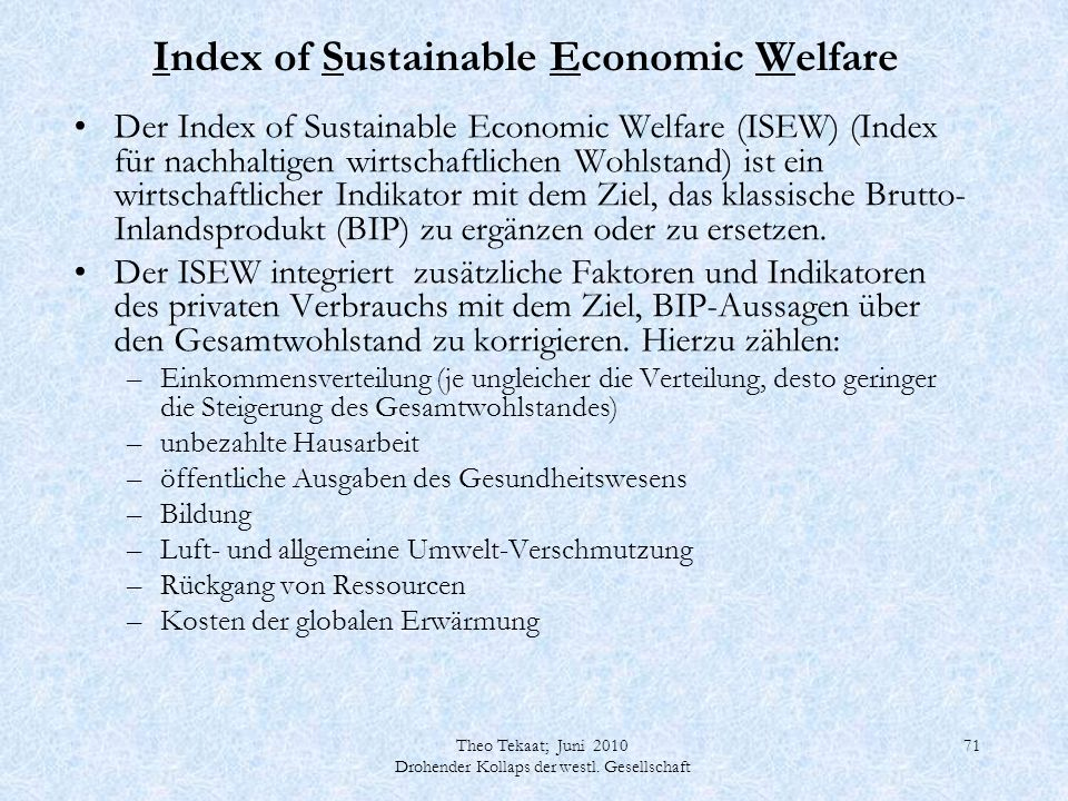 Index of Sustainable Economic Welfare