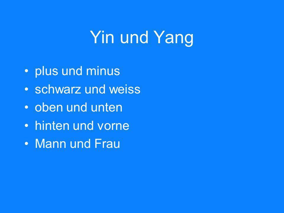Yin und Yang plus und minus schwarz und weiss oben und unten