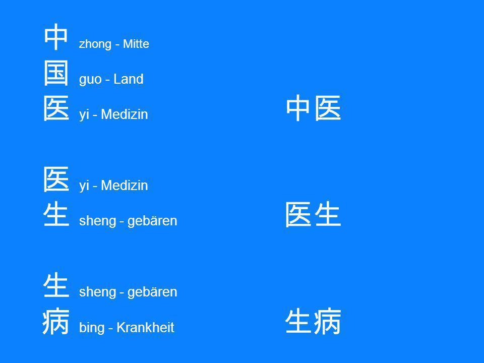 中 zhong - Mitte 国 guo - Land 医 yi - Medizin