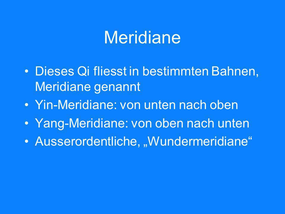 Meridiane Dieses Qi fliesst in bestimmten Bahnen, Meridiane genannt