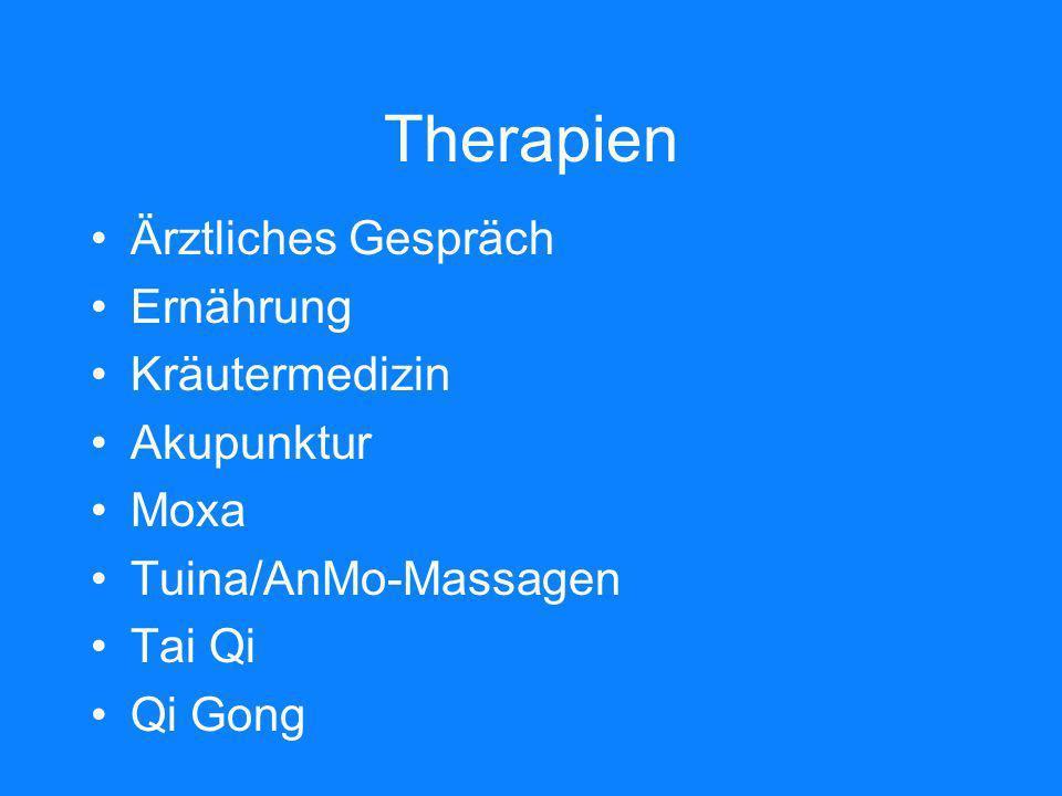 Therapien Ärztliches Gespräch Ernährung Kräutermedizin Akupunktur Moxa
