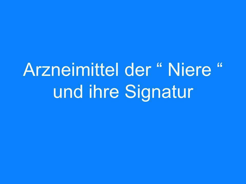 Arzneimittel der Niere und ihre Signatur