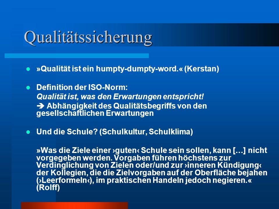 Qualitätssicherung »Qualität ist ein humpty-dumpty-word.« (Kerstan)
