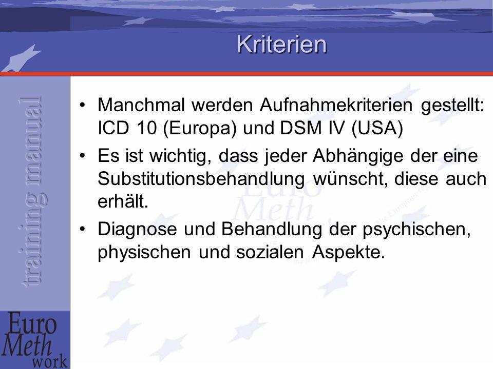Kriterien Manchmal werden Aufnahmekriterien gestellt: ICD 10 (Europa) und DSM IV (USA)