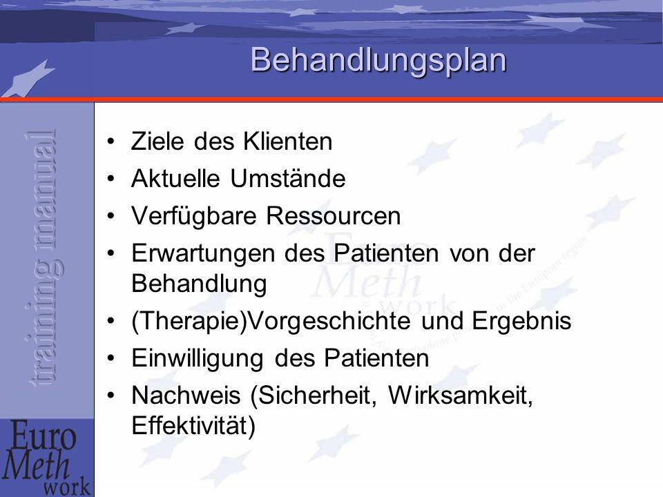 Behandlungsplan Ziele des Klienten Aktuelle Umstände