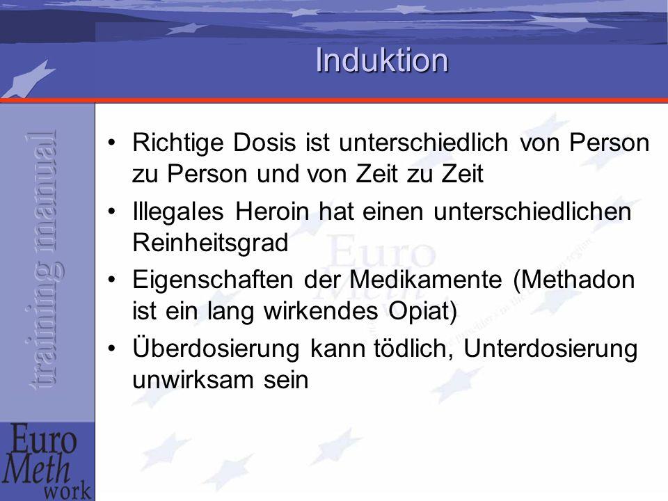Induktion Richtige Dosis ist unterschiedlich von Person zu Person und von Zeit zu Zeit. Illegales Heroin hat einen unterschiedlichen Reinheitsgrad.