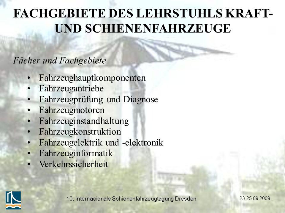 FACHGEBIETE DES LEHRSTUHLS KRAFT- UND SCHIENENFAHRZEUGE