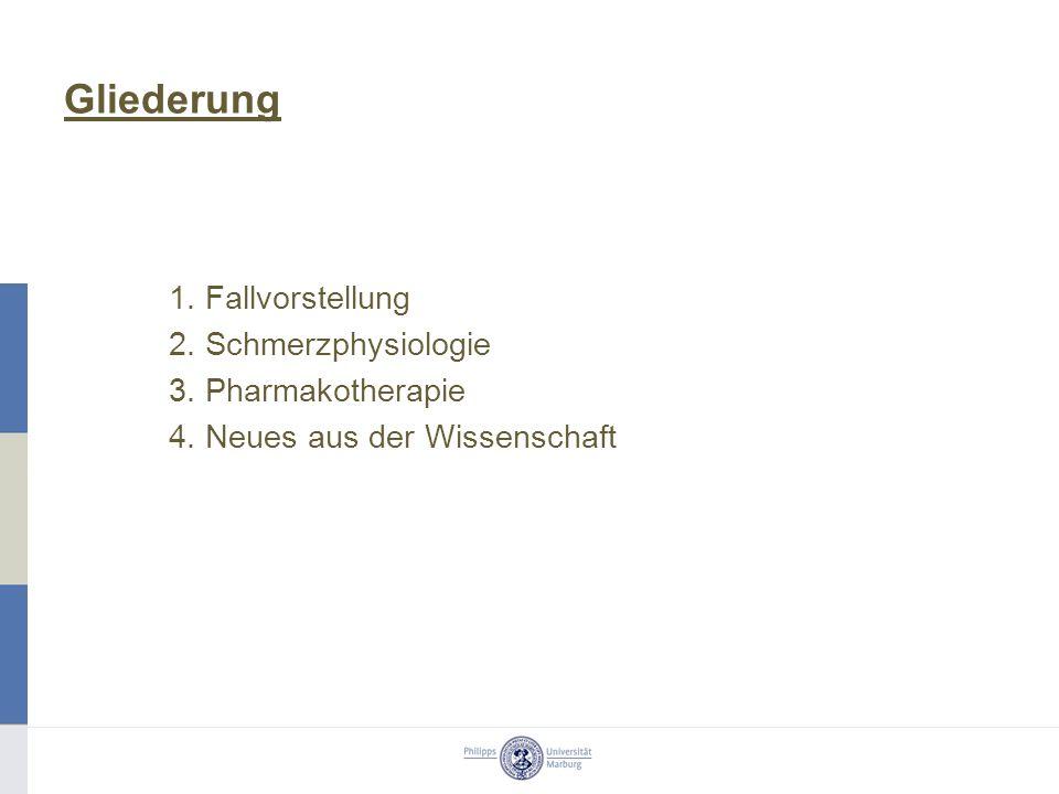Gliederung 1. Fallvorstellung 2. Schmerzphysiologie