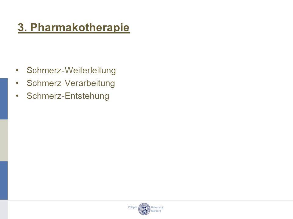 3. Pharmakotherapie Schmerz-Weiterleitung Schmerz-Verarbeitung