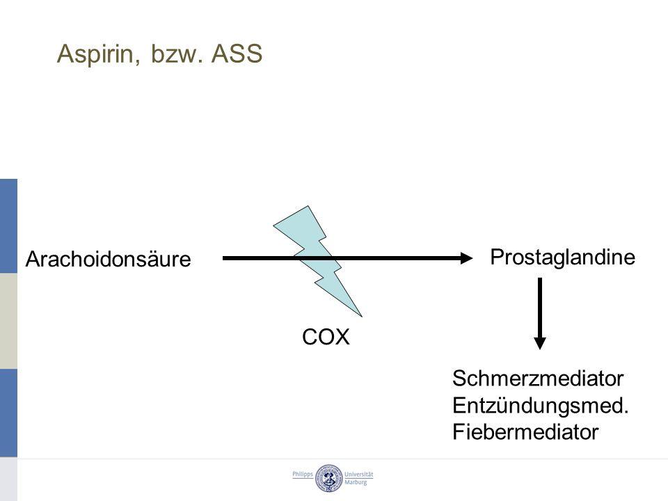 Aspirin, bzw. ASS Arachoidonsäure Prostaglandine COX Schmerzmediator