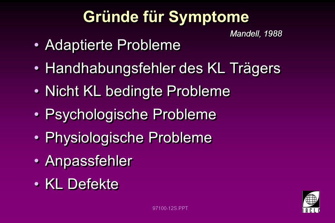 Gründe für Symptome Adaptierte Probleme