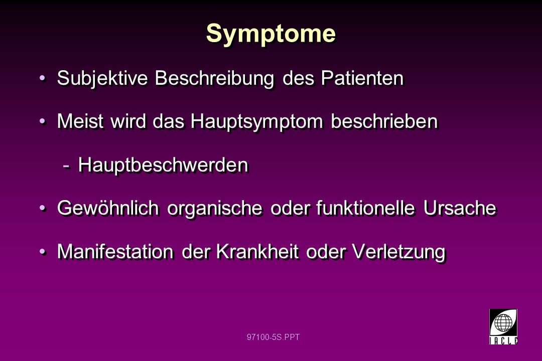 Symptome Subjektive Beschreibung des Patienten