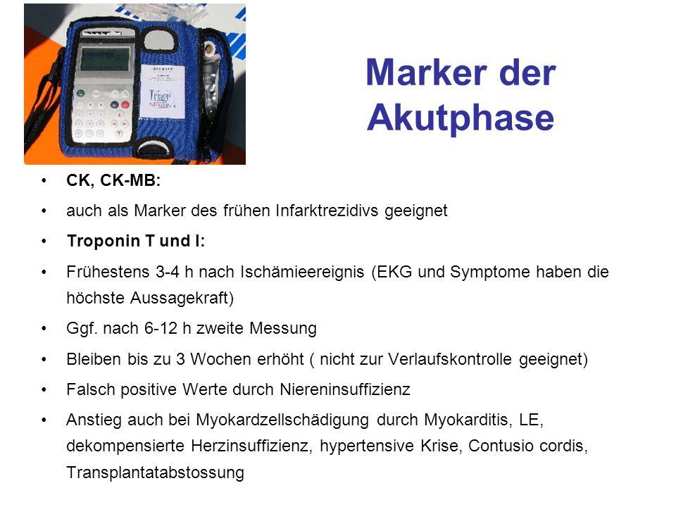 Marker der Akutphase CK, CK-MB: