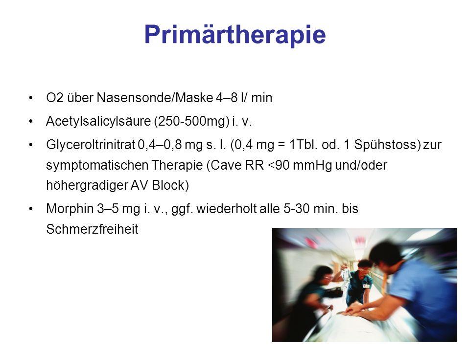Primärtherapie O2 über Nasensonde/Maske 4–8 l/ min