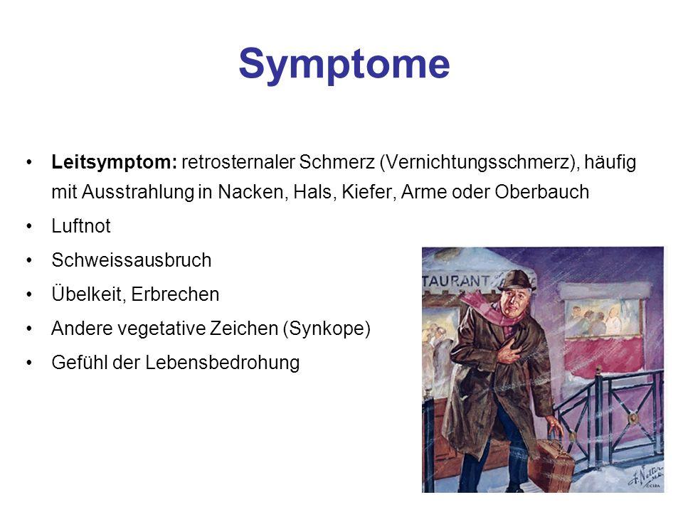 Symptome Leitsymptom: retrosternaler Schmerz (Vernichtungsschmerz), häufig mit Ausstrahlung in Nacken, Hals, Kiefer, Arme oder Oberbauch.