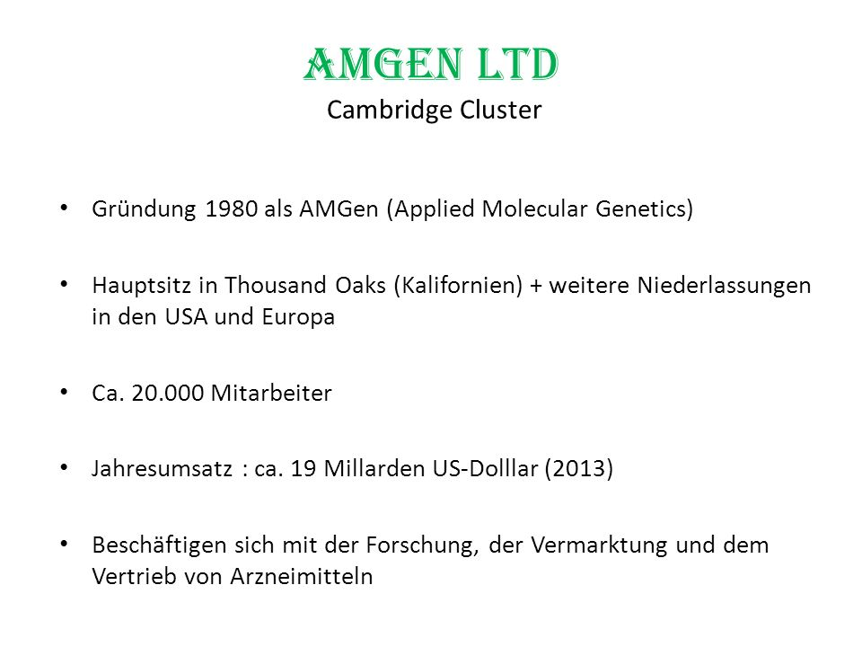Amgen Ltd Cambridge Cluster