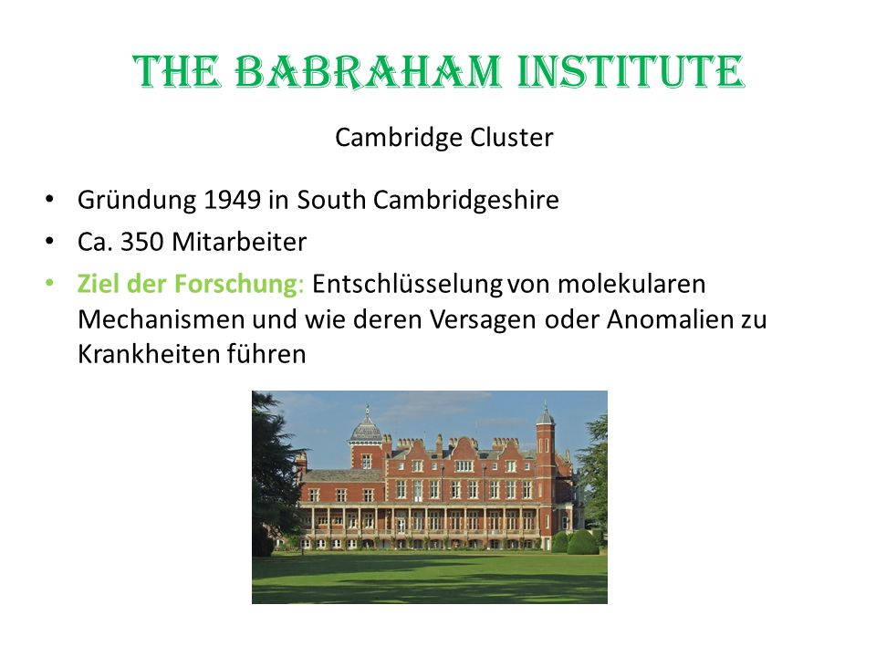 The Babraham Institute Cambridge Cluster