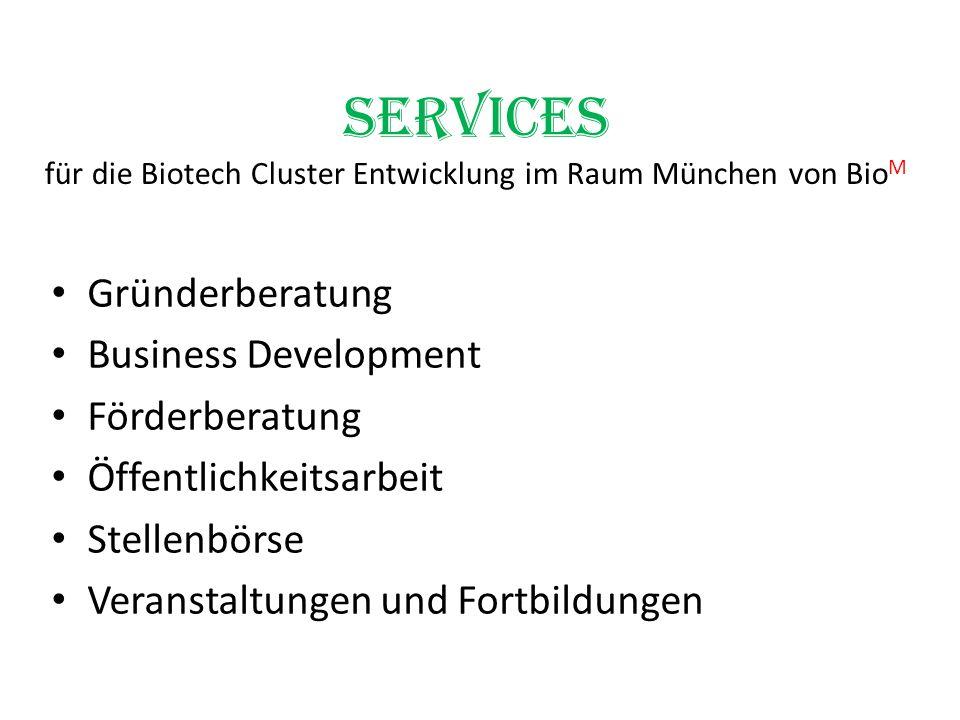 Services für die Biotech Cluster Entwicklung im Raum München von BioM