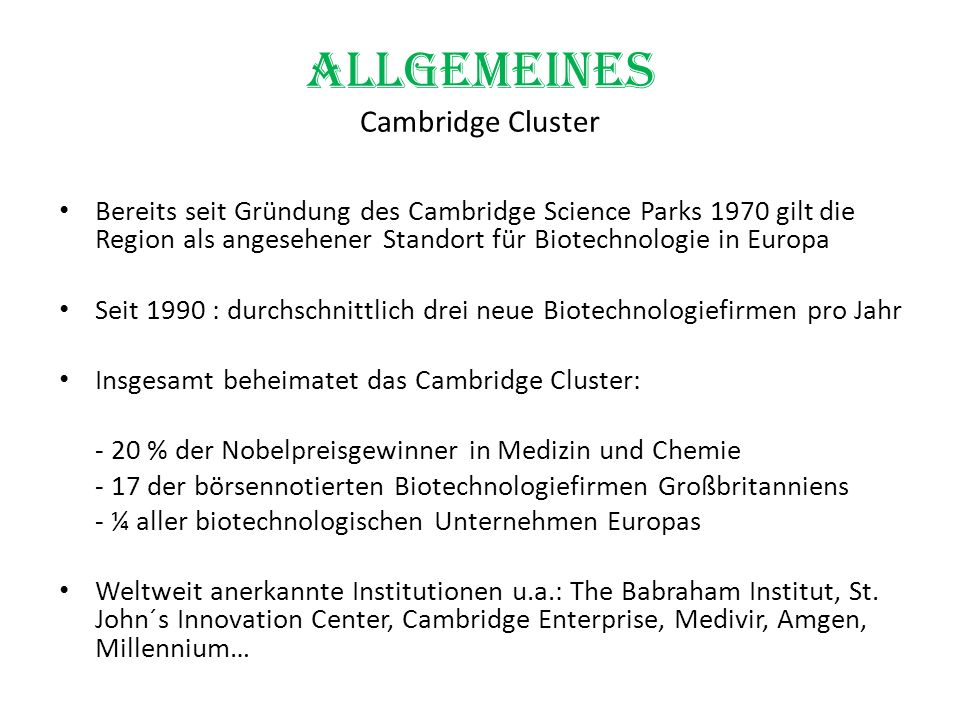Allgemeines Cambridge Cluster