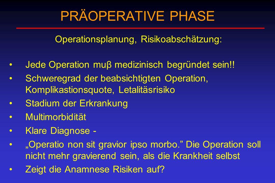 Operationsplanung, Risikoabschätzung: