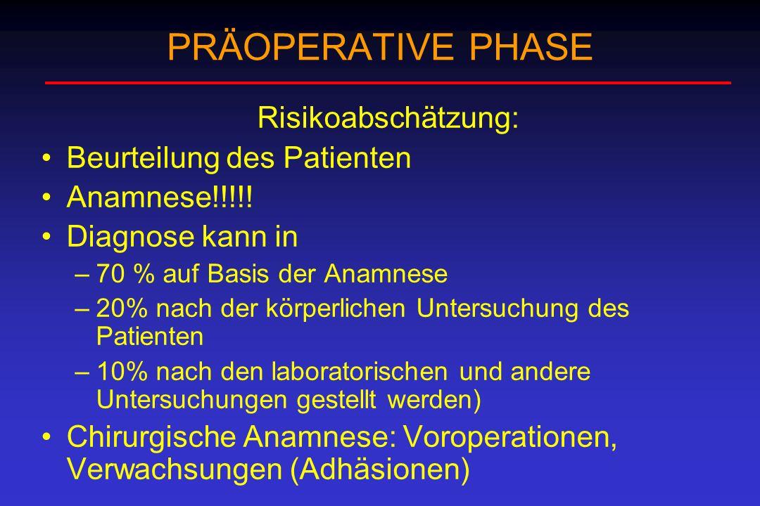 PRÄOPERATIVE PHASE Risikoabschätzung: Beurteilung des Patienten