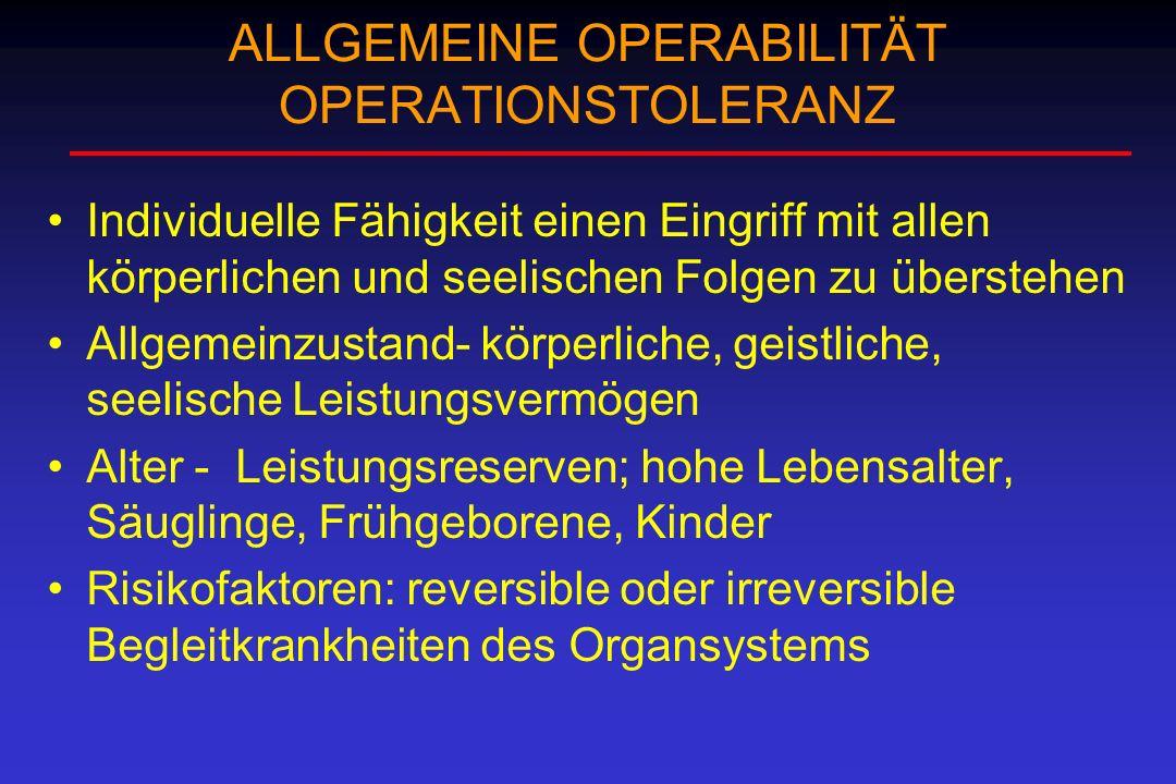 ALLGEMEINE OPERABILITÄT OPERATIONSTOLERANZ