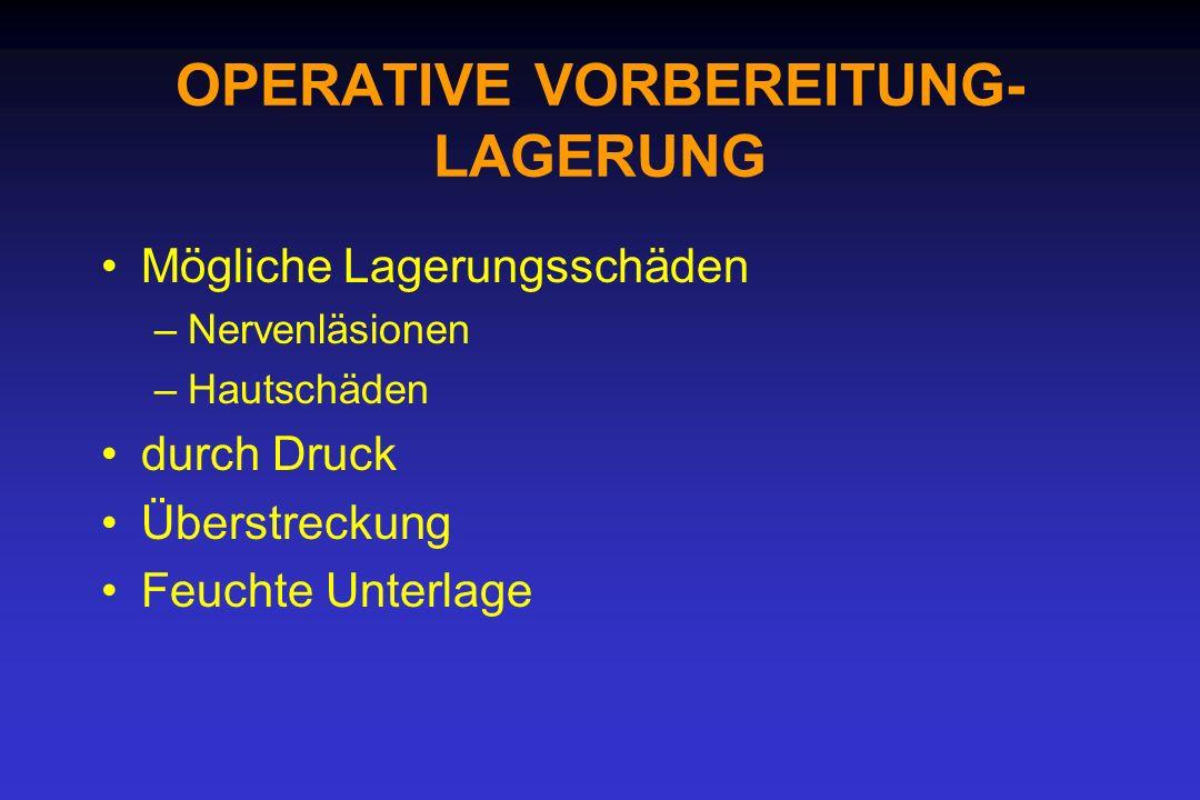 OPERATIVE VORBEREITUNG- LAGERUNG