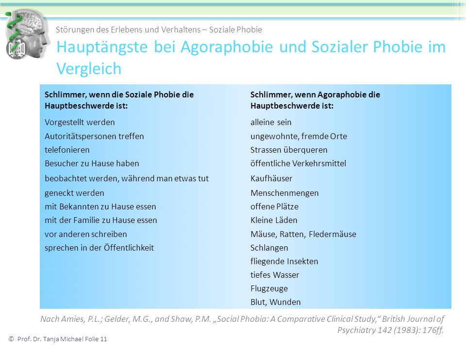 Hauptängste bei Agoraphobie und Sozialer Phobie im Vergleich