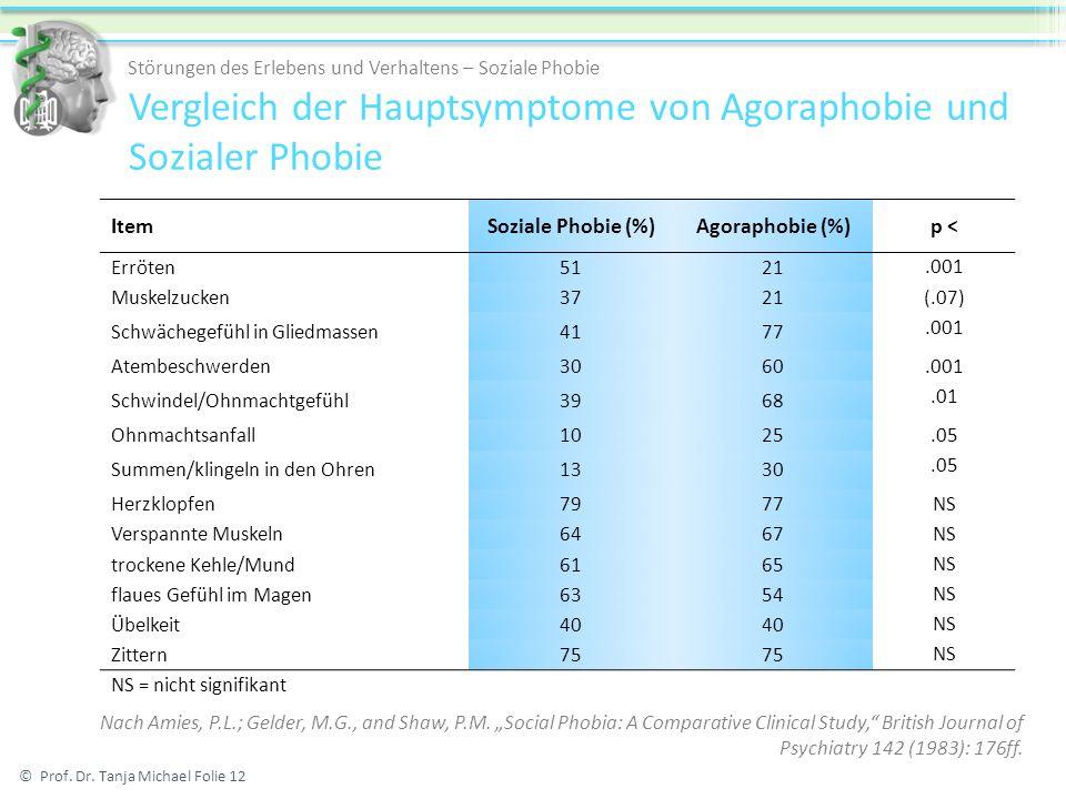 Vergleich der Hauptsymptome von Agoraphobie und Sozialer Phobie