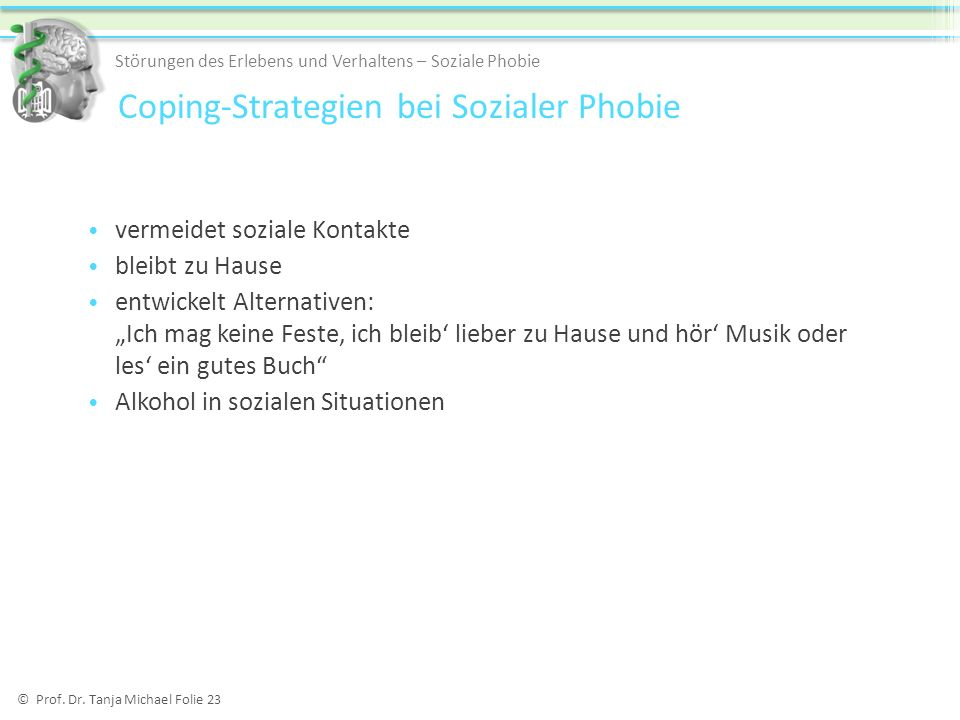 Coping-Strategien bei Sozialer Phobie