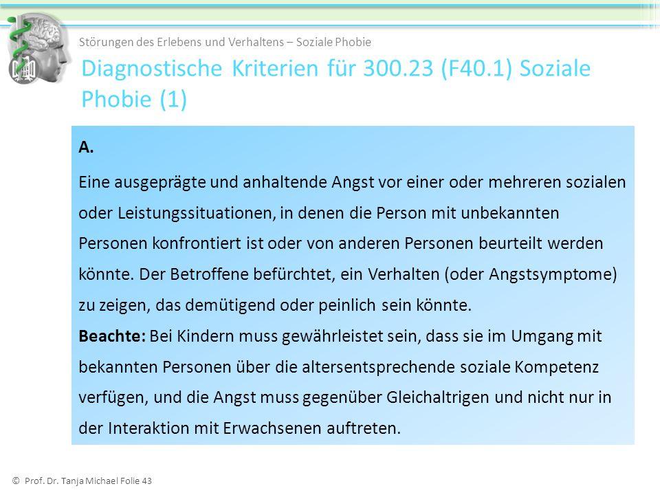 Diagnostische Kriterien für 300.23 (F40.1) Soziale Phobie (1)