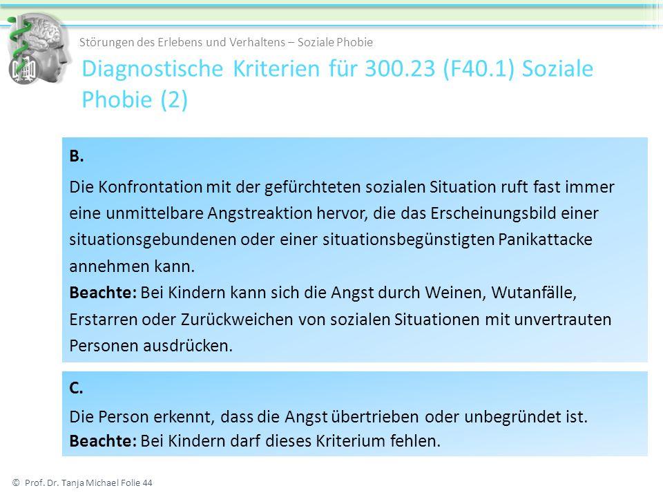 Diagnostische Kriterien für 300.23 (F40.1) Soziale Phobie (2)