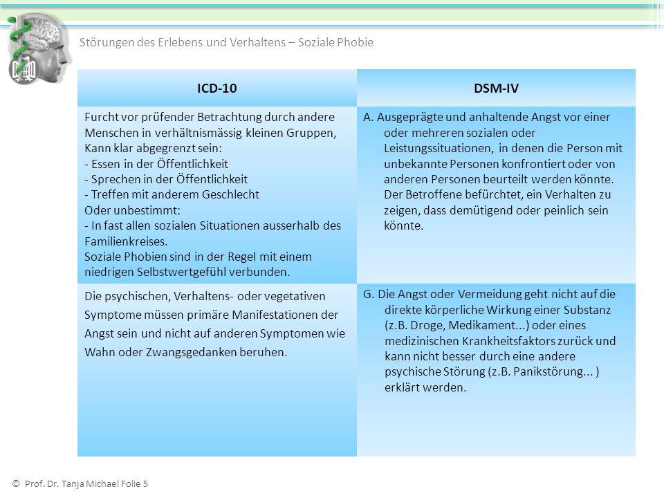 ICD-10 DSM-IV Störungen des Erlebens und Verhaltens – Soziale Phobie