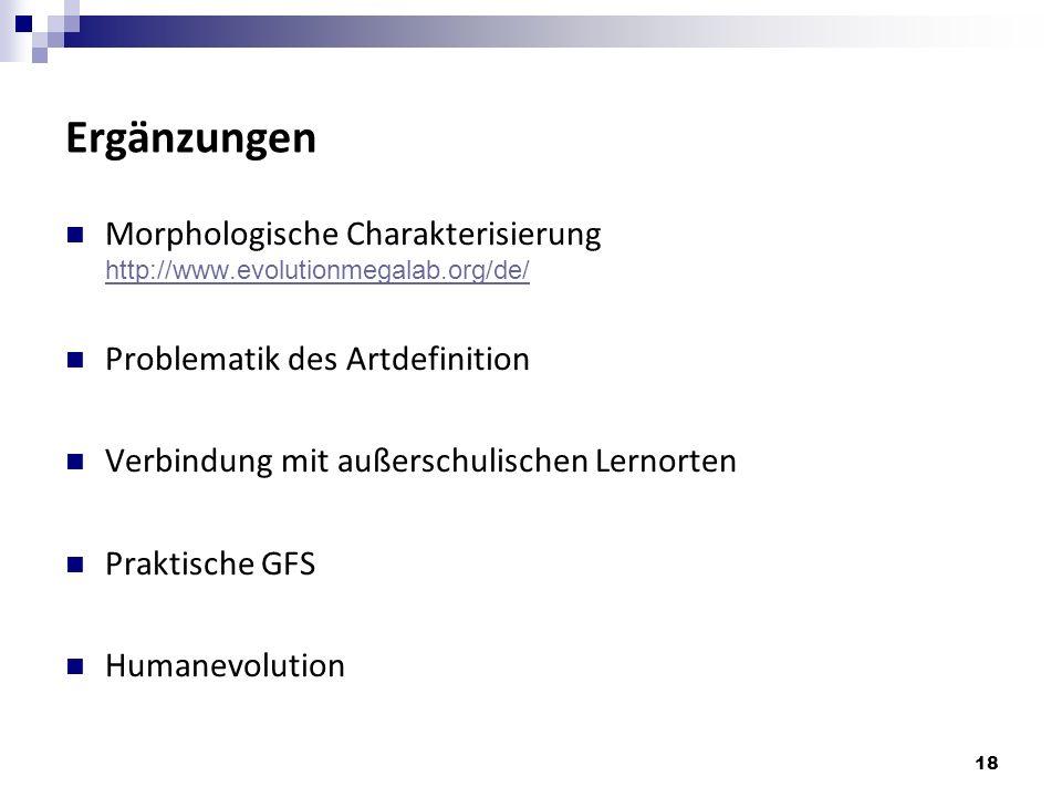 Ergänzungen Morphologische Charakterisierung http://www.evolutionmegalab.org/de/ Problematik des Artdefinition.