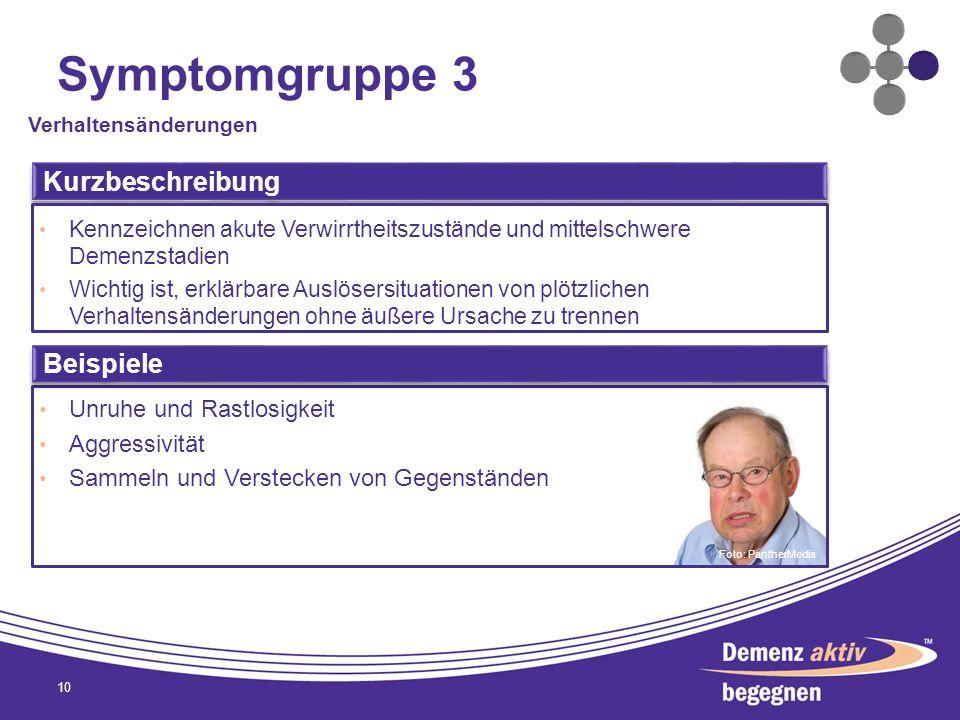 Symptomgruppe 3 Kurzbeschreibung Beispiele Unruhe und Rastlosigkeit