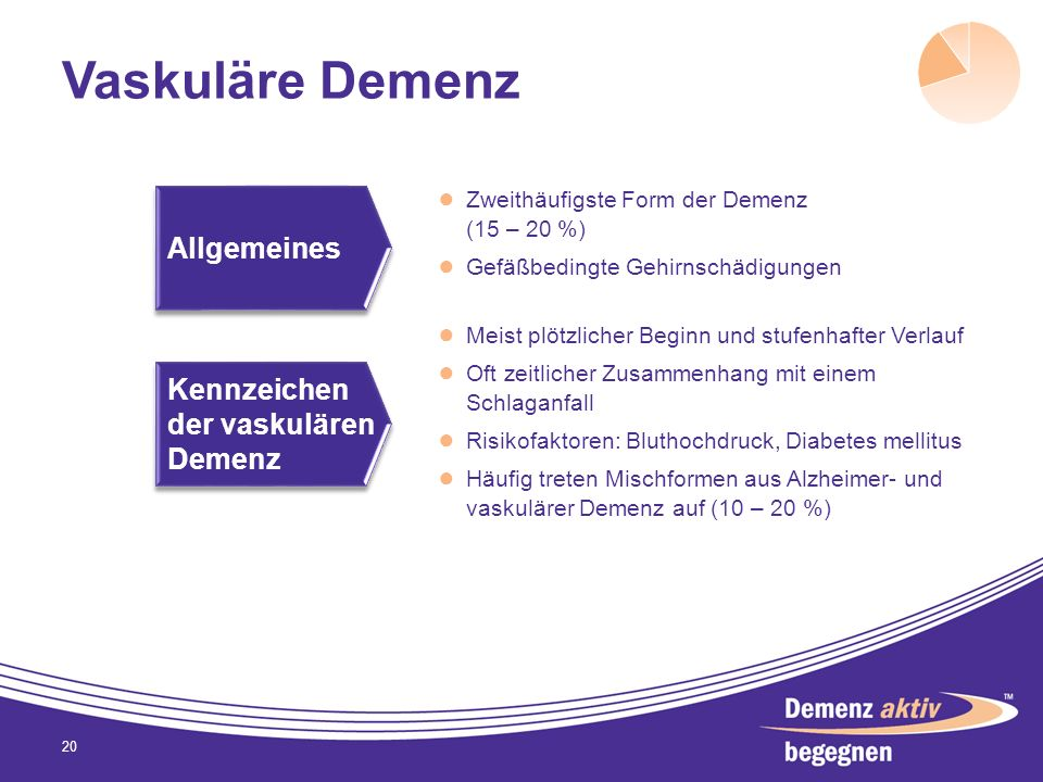 Vaskuläre Demenz Allgemeines Kennzeichen der vaskulären Demenz