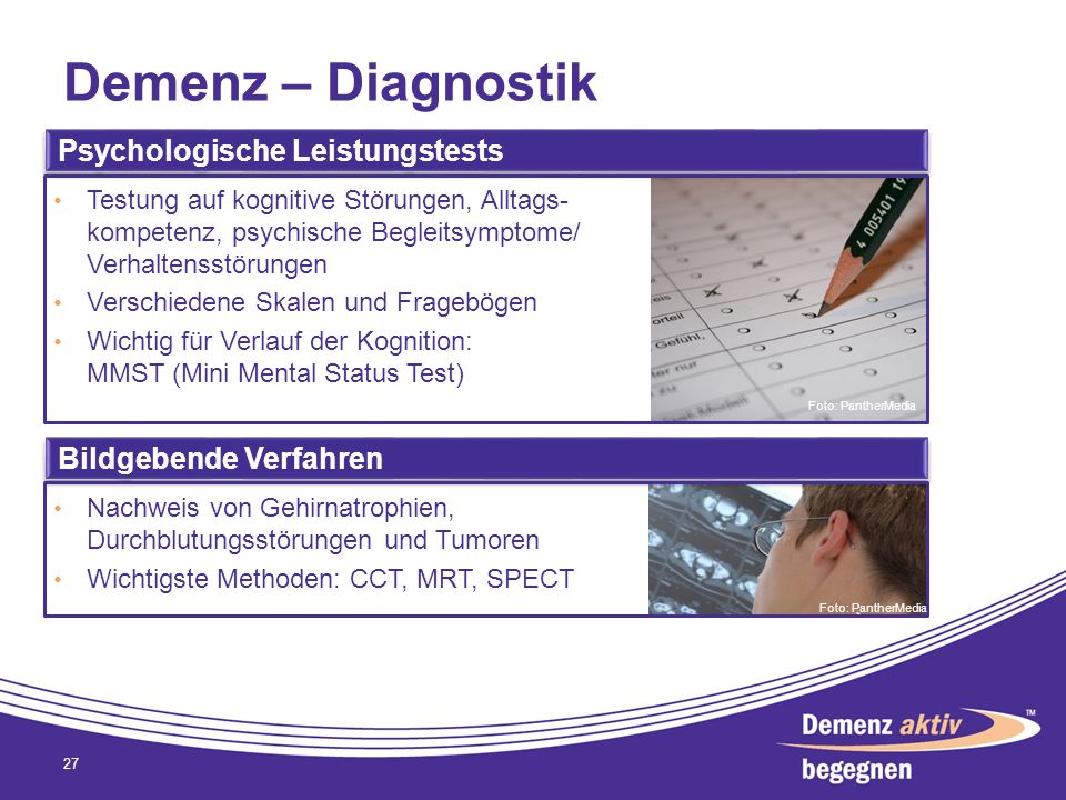 Demenz – Diagnostik Psychologische Leistungstests