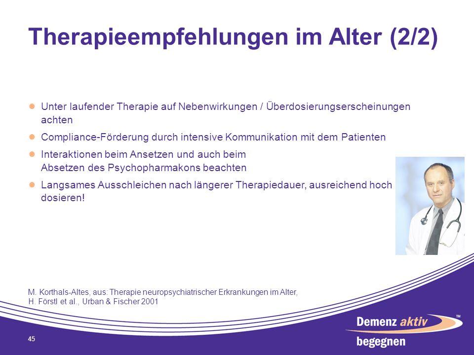 Therapieempfehlungen im Alter (2/2)