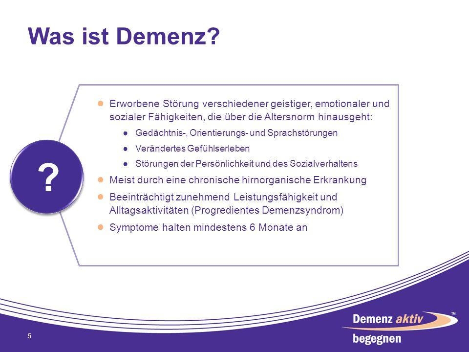 Was ist Demenz Erworbene Störung verschiedener geistiger, emotionaler und sozialer Fähigkeiten, die über die Altersnorm hinausgeht: